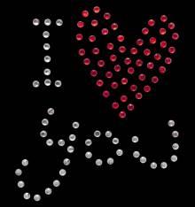 TRANSFER RHINESTONE/UD I LOVE YOU