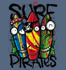 TRANSFER CAMISETA SURF PIRATES TABLAS
