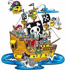 TRANSFER CAMISETA BARCO PIRATAS
