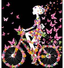 TRANSFER TSHIRT GIRL BIKE FLOWERS