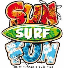 TRANSFER CAMISETA SURF SUN FUN