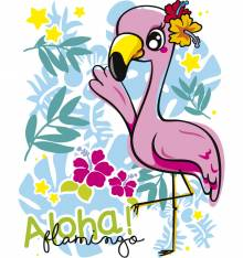TRANSFER CAMISETA ALOHA FLAMINGO